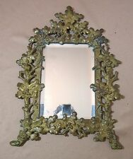 large antique 1800's ornate gilt bronze leave vine wall mount mirror brass