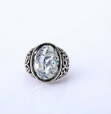 VINTAGE STYLE OVAL ABALONE SHELL RING SILVER PLATED. SIZE Q