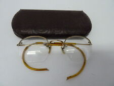 ANTIQUE SHURON 12K GF GOLD FILLED 1/10 WIRE RIM HEXAGON EYEGLASS FRAMES W/CASE