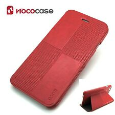 Cartera De Cuero HOCO Cristal Moda Libro caso para APPLE IPHONE 6 Plus-Rojo