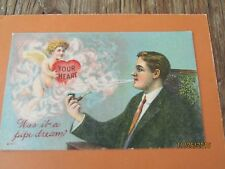 VINTAGE 1914-ROMANTIC PIPE DREAM- CUPID WITH A HEART-SMOKERS DREAM