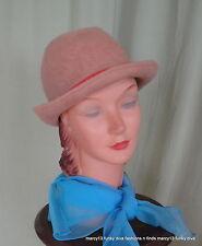 Cute Vintage 50's 60's Mahara Wool & Mohair Brown Bowler Fedora Hat  21 Inside