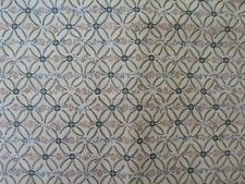LOVELY WIDE Vintage screen print lightweight drapery cotton fabric