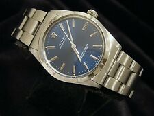 Mens Rolex Stainless Steel Oyster Perpetual Watch w/Oyster Band & Blue Dial 1002