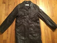 Women's chocolate brown Jones New York 100% leather coat size S