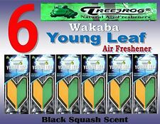 6 Packs Treefrog Wakaba YOUNG LEAF Car Air Freshener -Black Squash Scent JDM
