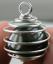 Arizona USA 100% Natural Tumbled Rough Obsidian Crystal In Spiral Cage Pendant