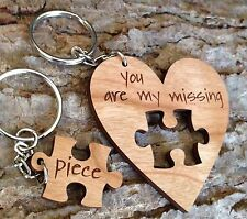 Personalised Wooden Love Heart Keyring Missing Piece Valentines Key Fob