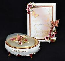 "Butterfly Resin Crystal Flowers - JEWELRY BOX & PHOTO FRAME 4""x6"" GIFT SET"