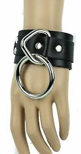 Bondage Bracelet Large Ring Genuine Leather Punk Gothic Cosplay Thrash Metal