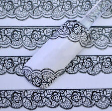 3D Lace Flower Pattern Sheet Nail Art Stickers Black Manicure Nail Decals Tips x