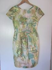 H&M CONSCIOUS Exclusive COLLECTION Cotton Poly Tulip Dress SZ 4 Metallic Threads
