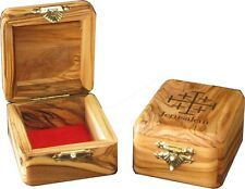 Olive Wood Jerusalem Rosary Box with Jerusalem  Cross Painted on the top
