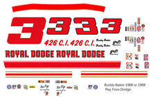 #3 Buddy Baker Royal Dodge 1968-69  Ray Fox 1/43rd Scale Slot Car Decals