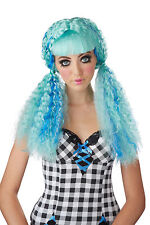 Turquoise/ Blue Crimped Baby Doll Curls Clown Curly Club Locks Rag Costume Wig