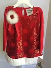 NWT Rare Editions Red Girls 18 Month Holiday 2 Piece Set Santa Dress Christmas