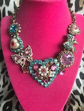 Betsey Johnson Pearl Heart Blue Pink Crystal Butterfly Bow HUGE SPARKLY Necklace