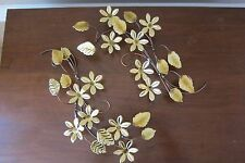 (2) Home Interiors Gold Metal Flower and Leaf Wall Plaque Hanging Accent Swag