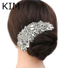 Bridal Hair Accessories Clear Rhinestone Crystal Wedding Flower Jewellery.