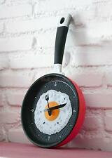 ABS Frying Pan Cutlery Wall Clock Watches Hour DIY Home Kitchen Decor Red