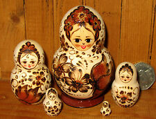 Russian STACKING doll small 5 Pyrography Butterfly Flowers MATRYOSHKA signed ART