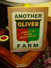 OLIVER FARM MACHINERY CUSTOM SOLID CEDAR FRAMED RETRO METAL WEATHERED SIGN