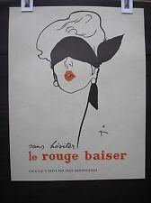Le rouge baiser Gruau René 1949  pin up poster vintage lipstick original NO repr