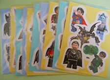 10 Packs of Lego Super Heroes Mini Figure Stickers Childrens Party Bag Fillers