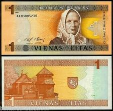 LITHUANIA 1 LITAS UNC OLD ISSUE # 182
