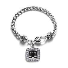 Inspired Silver Scale Of Justice Braided Charm Bracelet