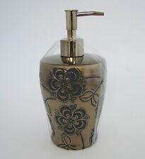 NEW BROWN TONE FLORAL VINTAGE DESIGN CERAMIC SOAP+LOTION DISPENSER