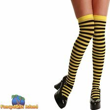 YELLOW & BLACK BUMBLEBEE STRIPE THIGH HIGHS One Size FAST POST Womens Hosiery