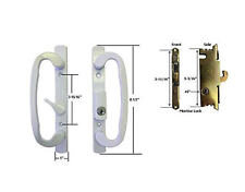 "Glass Patio Door Handle Set with Mortise Lock, White, Keyed,3-15/16"" Screw Holes"