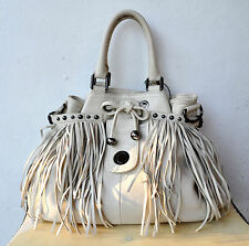 OROTON Limited Edition Lido Fringed Tassel Tote Pebbled Leather Off White Rare!
