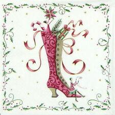 4x unica tavola FESTA TOVAGLIOLI carta per decoupage Decopatch Natale Stivali