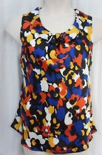 Nine West Blouse Sz M Sienna Multi Autumn Foliage Sleeveless Business Casual Top