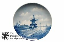 Antique RC Germany Blue Delft Wall Plate Windmill Decorative Porcelain Canal 10""