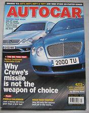 Autocar 18/11/2003 featuring Bentley Continental GT, AMG Mercedes CL65, Honda