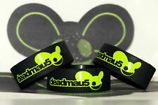 DEADMAU5 LOGO BLACK AND LIME GREEN 4 X 4 COLOURS SILICONE WRISTBAND BRACELET