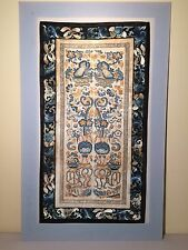 Chinese Forbidden Stitch Embroidered Panel With Gold Thread Detail.