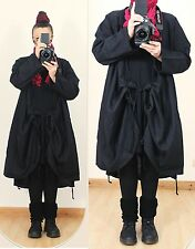 SCHWARZ LEINEN WICKEL BALLON JACKE MANTEL Lang Lagenlook Long Tunika L XL Gothic