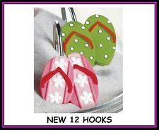 Sandals Flip Flop Shower Curtain Hooks Set 12 Ceramic Pink Cactus polka dot NEW