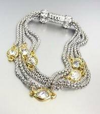 GORGEOUS Silver Box Chain Cables Clear CZ Crystals Magnetic Clasp Bracelet