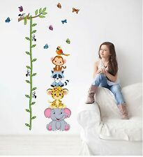Cute animals stack height measure wall stickers kids adhesive vinyl wallpaper 3