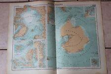 Ancienne carte Atlas universel Géographie 1919 N°80 Régions polaires - Hachette