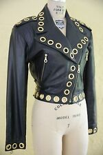 North Beach Leather Black Motorcycle Biker Rocker Coat Jacket Gold Stud