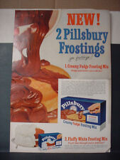 1955 Pillsbury Chocolate Cake Frosting Double Page Color Vintage Print Ad 11424
