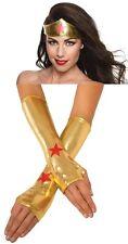 Wonder Woman Gold Lamé Tiara Gauntlet Gloves Superhero Crown Bracers Amazon Gal