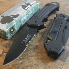 OFFICIAL US ARMY Linerlock A/O MILITARY TACTICAL BLACK SERRATED Pocket Knife NEW