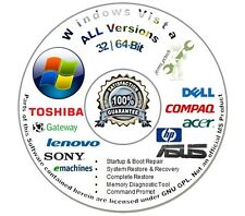 Windows Vista 32 & 64-Bit Re Install Repair Recovery Boot DVD Disc Home Pre Bas